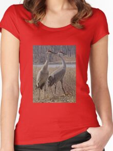 Cherokee Marsh Sandhill Cranes  Women's Fitted Scoop T-Shirt