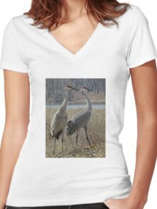 Cherokee Marsh Sandhill Cranes  Women's Fitted V-Neck T-Shirt