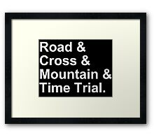 Bicycling Styles - Road, Cross, Mountain, Time Trial Framed Print