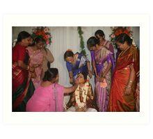 Womenfolk applying kumkum and haldi Art Print