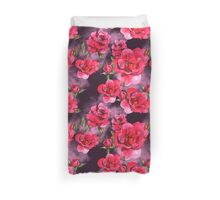 Watercolor Red Roses Pattern on Smoky Purple Duvet Cover