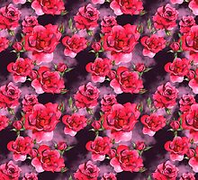 Watercolor Red Roses Pattern on Smoky Purple by pjwuebker