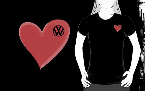 VW Kombi small loveheart/vw logo t-shirt - by melodyart