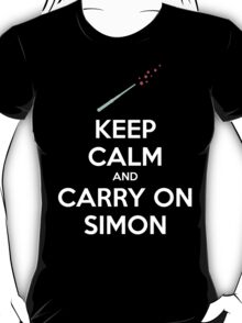 Keep Calm and Carry On Simon—White Text T-Shirt