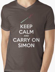 Keep Calm and Carry On Simon (White Text) Mens V-Neck T-Shirt