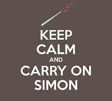 Keep Calm and Carry On Simon (White Text) Womens Fitted T-Shirt