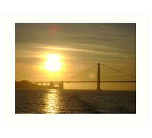Golden Gate Golden Sun Art Print