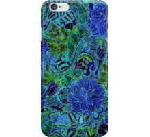 Blue Green Flower Pattern iPhone Case/Skin