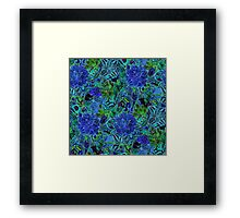Blue Green Flower Pattern Framed Print