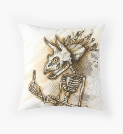 Feathered Triceratops Throw Pillow