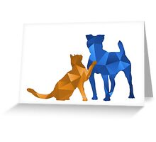 Moggy and Pooch #2. Blue&gold. Take your best friend everywhere. Greeting Card