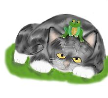 Frog sits on Kitten by NineLivesStudio