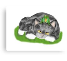 Frog sits on Kitten Canvas Print