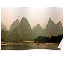 Li River Karst Shore Poster