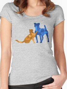 Moggy and Pooch #2. Blue&gold. Take your best friend everywhere. Women's Fitted Scoop T-Shirt