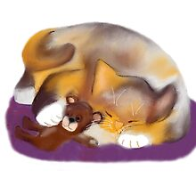 Cat Nap with Teddy Bear by NineLivesStudio