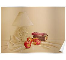 Still life with lamp and apples Poster