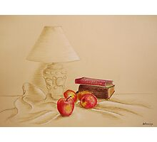 Still life with lamp and apples Photographic Print