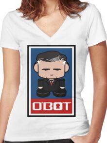 Mitt Romneybot Toy Robot 1.1 Women's Fitted V-Neck T-Shirt