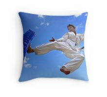 Flying Kick Throw Pillow