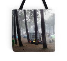A rainy day in the camping Tote Bag
