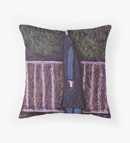 A man looking at something Throw Pillow