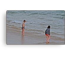 """ As cold as it was, these two Children just had to go into the Sea"" Canvas Print"