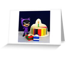 Retro Catwoman Birthday Greeting Card