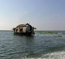 A houseboat moving placidly through a coastal lagoon in Alleppey, Kerala, India by ashishagarwal74