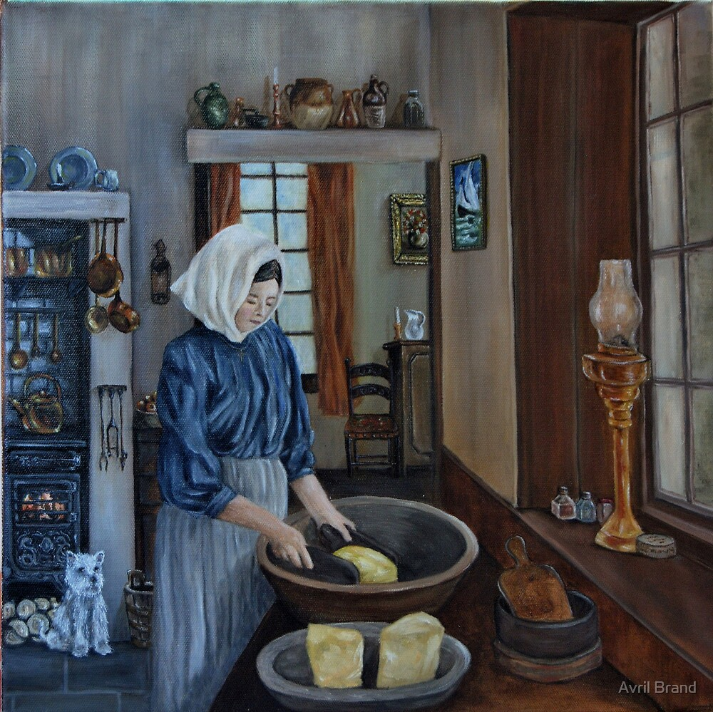 """""""Irish Servant Making Butter"""" - Oil Painting by Avril Brand"""