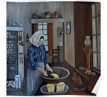 """Irish Servant Making Butter"" - Oil Painting Poster"