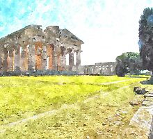 Paestum: tree and temples by Giuseppe Cocco
