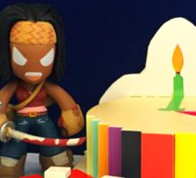 Michonne & Pets Birthday Sticker