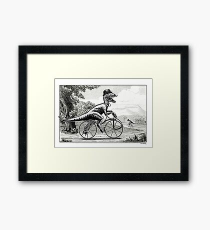 Velociraptor on a Velocipede Framed Print