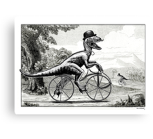 Velociraptor on a Velocipede Canvas Print
