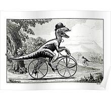 Velociraptor on a Velocipede Poster