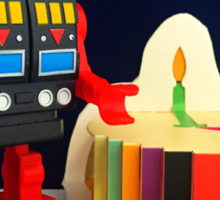 Robot Birthday Sticker