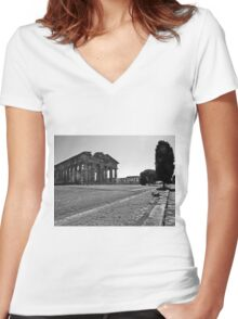 Paestum: trees and temples Women's Fitted V-Neck T-Shirt