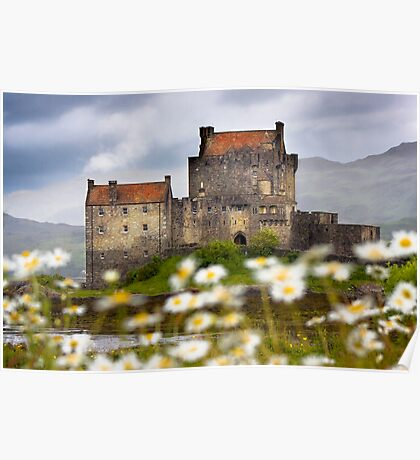 Eilean Donan Castle and Summer Flowers, Dornie, SCOTLAND. Poster
