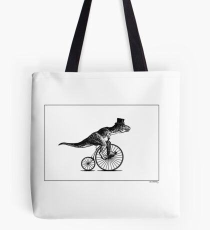 T-Rex on a Penny Farthing - Plain Back Tote Bag