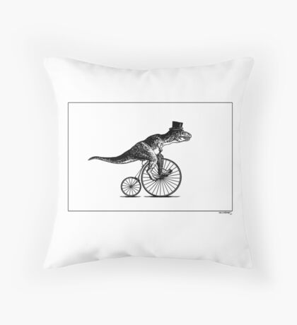 T-Rex on a Penny Farthing - Plain Back Throw Pillow