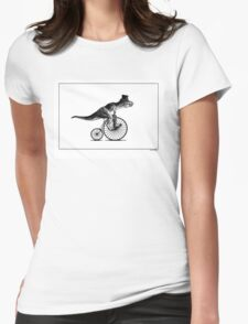 T-Rex on a Penny Farthing - Plain Back Womens Fitted T-Shirt