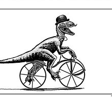 Velociraptor on a velocipede by Smaggers