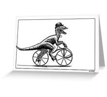 Velociraptor on a velocipede Greeting Card