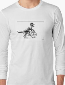 Velociraptor on a velocipede Long Sleeve T-Shirt