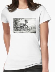 Velociraptor on a Velocipede Womens Fitted T-Shirt