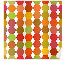 seamless pattern of colored hexagons on the white background Poster