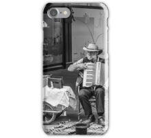 Homeless Man Playing the Accordion iPhone Case/Skin