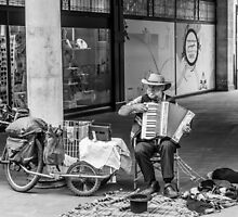 Homeless Man Playing the Accordion by martinlogan
