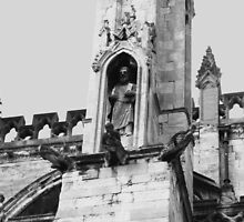 Statue on York Minster by blueclover
